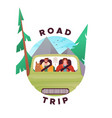 road trip concept man and woman driving car vector image vector image