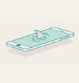 shark fin above smartphone vector image vector image