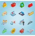 Shopping set icons isometric 3d style vector image