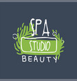 spa beauty studio logo design emblem for vector image vector image