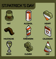 stpatricks day color outline isometric icons vector image