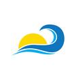 sun wave logo vector image