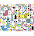 surreal seamless pattern with emoji vector image
