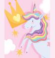 unicorn rainbow horn mane crown fantasy magic vector image vector image
