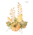 watercolor autumn bouquet leaves vector image
