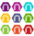 window arch icons set 9 vector image vector image