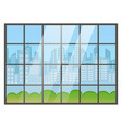 window with cityscape town city skyline vector image