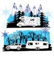 winter landscape with camper van vector image