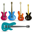 Guitars and Bass Guitars Set Isolated on White vector image