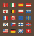 set of world flags in grunge style vector image