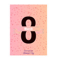 8 march happy womens day greeting card on pink vector image vector image