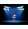 A girl playing jumping rope under the spotlights vector image vector image