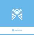 angel wings logo ribbon strip care charity vector image