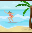 beach landscape with palm trees girl surfing vector image vector image