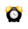black alarm clock on white background with gold vector image