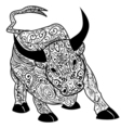 Bull Decorative outline hand drawn in zentangle vector image vector image