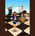 business people fighting as knight vector image vector image