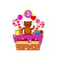cake on third birthday vector image vector image