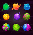 cartoon colorful slime planets set fantasy alien vector image vector image