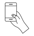 cellphone hand holding black and white vector image vector image