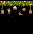 christmas tree garland with christmas gingerbread vector image vector image
