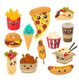 cute and funny fast food character set flat vector image vector image