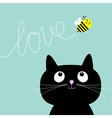 Cute cartoon cat Bee dash line love Flat design vector image vector image