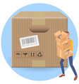 delivery man with parcell cartboard boxes vector image vector image