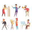 different characters creative professions vector image vector image