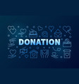 donation blue modern line horizontal banner vector image