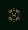 elegant monogram letter m logo design template 3 vector image vector image