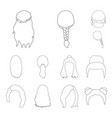 female hairstyle outline icons in set collection vector image