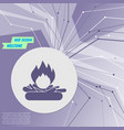 fire icon on purple abstract modern background vector image