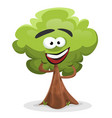 funny cartoon tree character vector image vector image