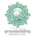 green building leaves house symbol vector image vector image