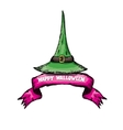 green witch hat isolated on white vector image vector image