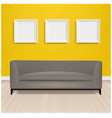 grey sofa bed with and picture frame and yellow vector image vector image
