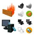 hacker and hacking cartoonblackflatmonochrome vector image vector image