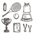 Hand drawn Tennis game set vector image
