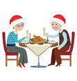 happy cartoon grandparents at a festive table vector image vector image