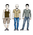 happy men posing wearing casual clothes people set vector image vector image