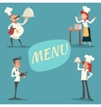 Happy Smiling Male and Female Chief Cook Waiter vector image vector image