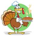 Happy Turkey Chef With Hot Pumpkin Pie vector image vector image