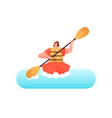 happy woman in kayak boat water sport isolated vector image