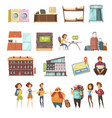 hostel isolated retro icons set vector image