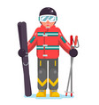 isolated skier mountain winter mountains vacation vector image vector image