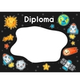 Kawaii space diploma Doodles with pretty facial vector image vector image