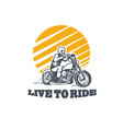 live to ride logo vector image vector image