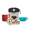 maker coffee and three cup graphic vector image