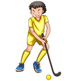 Man in yellow outfit playing hockey vector image vector image